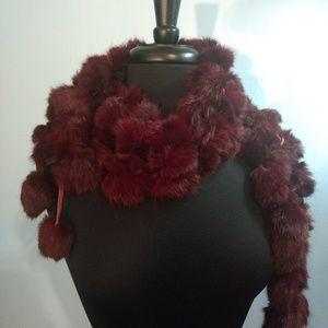 Vtg. Luscious Red Wine Fur Scraf/Wrap
